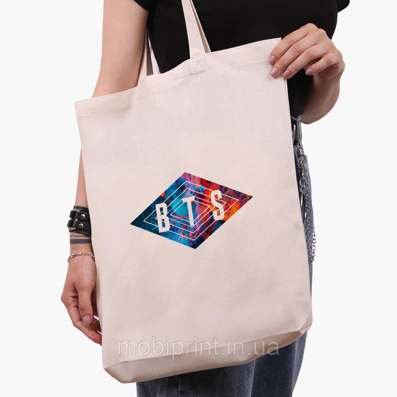 Еко сумка шоппер біла БТС (BTS) (9227-1062-1) экосумка шопер 41*39*8 см