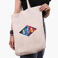 Еко сумка шоппер біла БТС (BTS) (9227-1062-1) экосумка шопер 41*39*8 см, фото 1