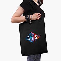 Эко сумка шоппер черная БТС (BTS) (9227-1062-2)  экосумка шопер 41*35 см , фото 1