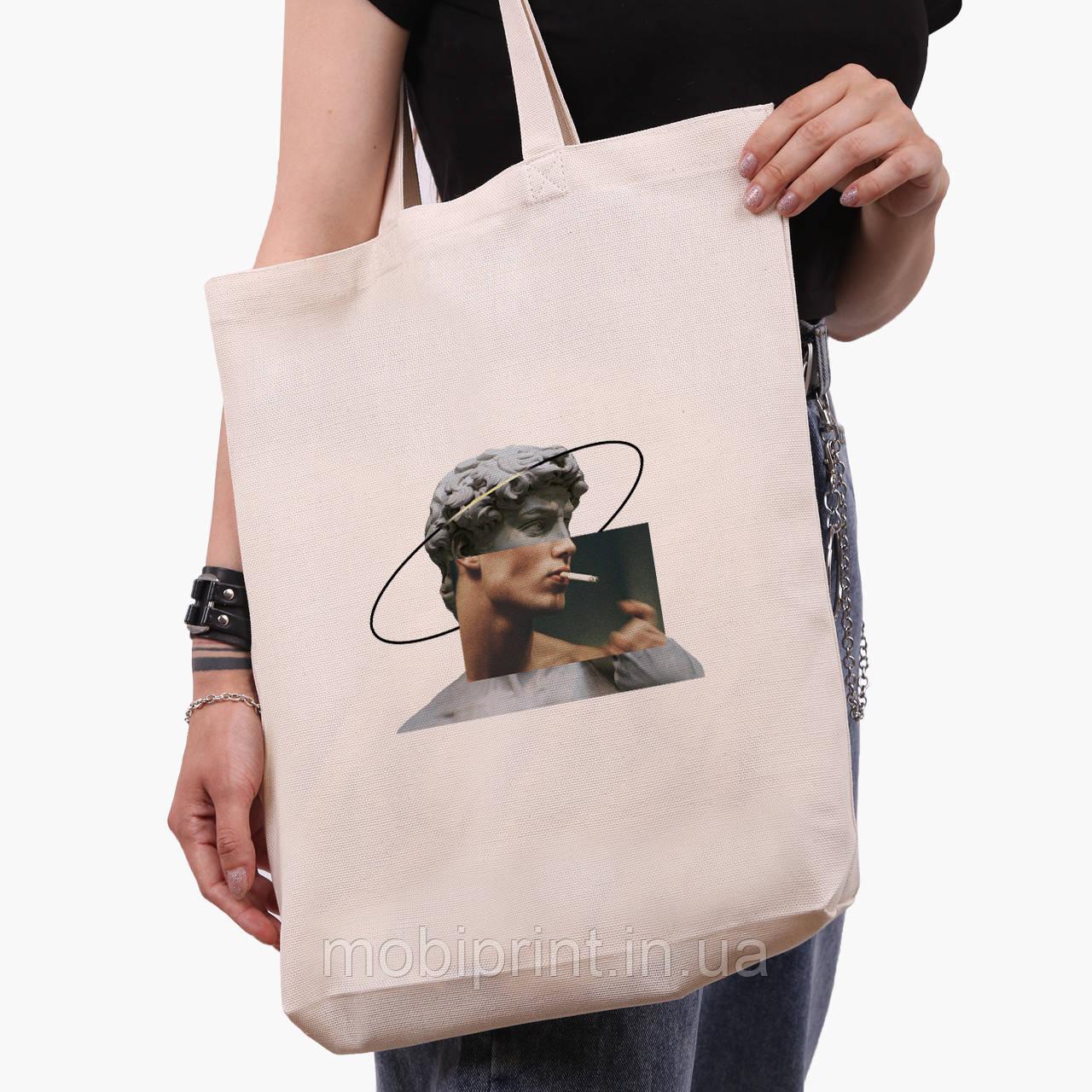 Эко сумка шоппер белая Давид Микеланджело - Ренессанс (David Michelangelo) (9227-1201-1)  экосумка шопер