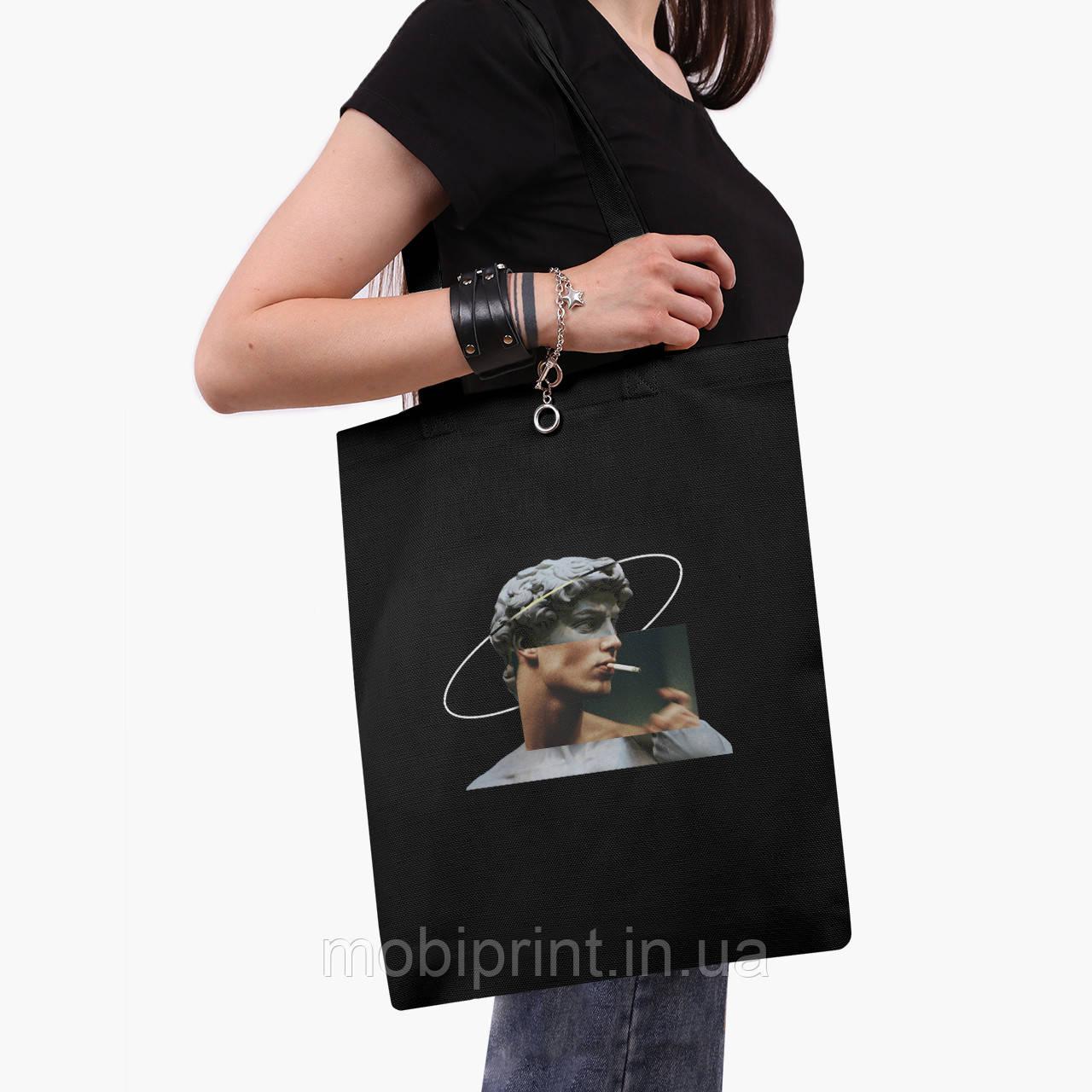 Еко сумка шоппер з принтом Давид Мікеланджело - Ренесанс (David Michelangelo) (9227-1201) Чорний