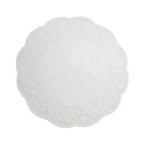 Салфетка ажурная круглая 33 см., 15 шт. бумажная, белая METALTEX