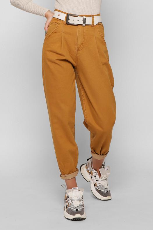 Женские джинсы Мом Jeans с высокой талией широкие горчичные