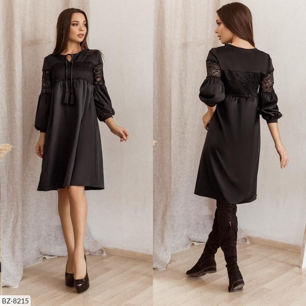 Платье свободного кроя с декоративными шнурками, №169, чёрный, 42-46р.