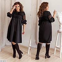 Платье свободного кроя с декоративными шнурками, №169, чёрный, 48-58 р.