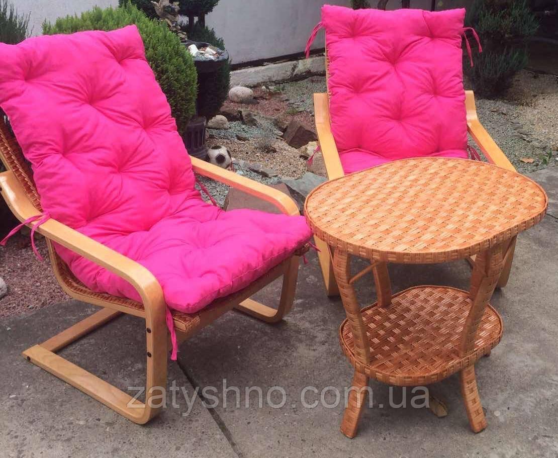 Мебель из лозы подарочная | Качалки плетеные со столом и накидками розовыми  |мебель плетеная на подарок