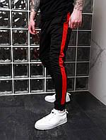 Спортивные штаны мужские с лампасами Boss трикотажные   брюки черно-красные осенние весенние ТОП качества