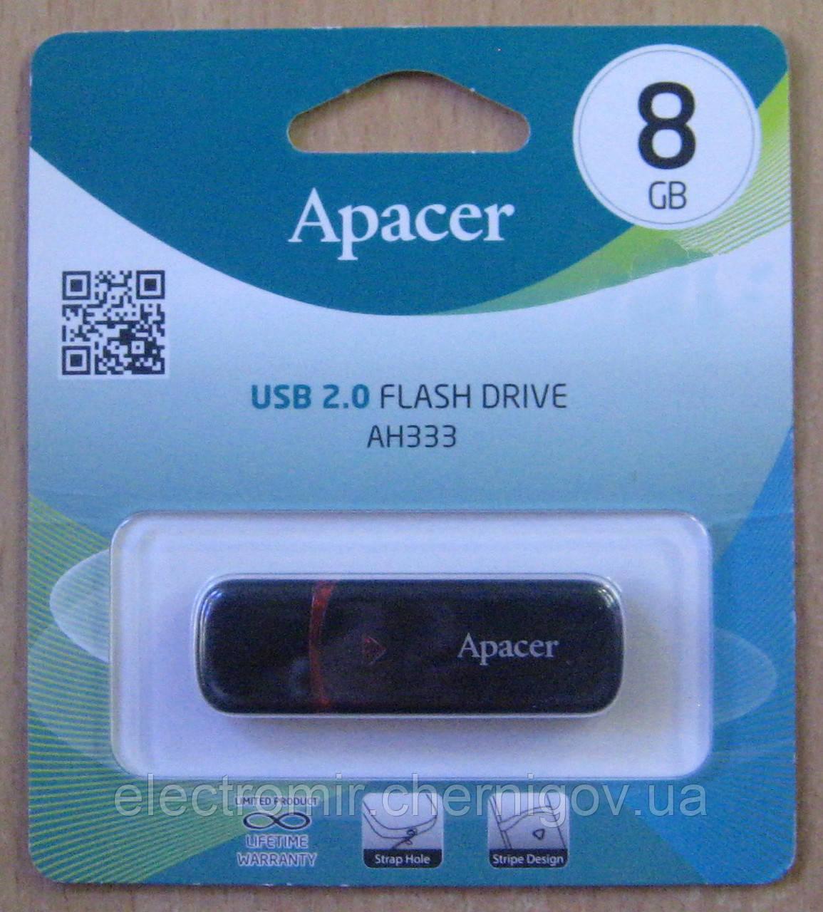 Флешка Apacer 8 GB AH333 (чёрная)