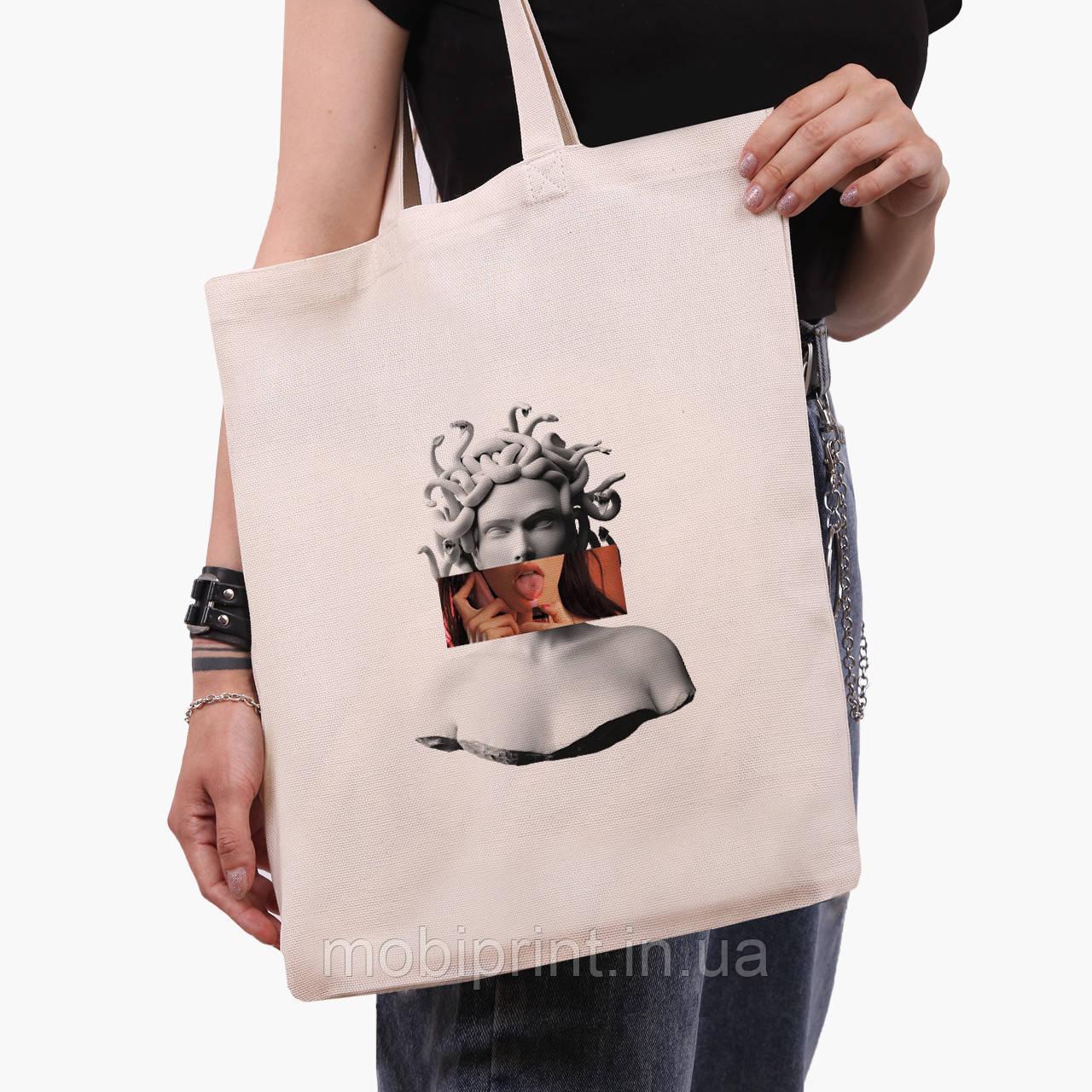 Эко сумка шоппер Меган Фокс - Ренессанс Медуза Горгона (Megan Fox) (9227-1203)  экосумка шопер 41*35 см
