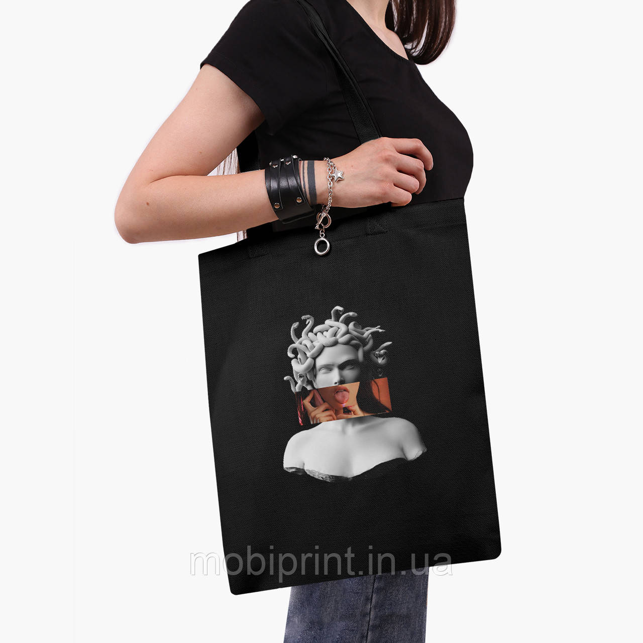 Еко сумка шоппер з принтом Меган Фокс - Ренесанс Медуза Горгона (Megan Fox) (9227-1203) Чорний