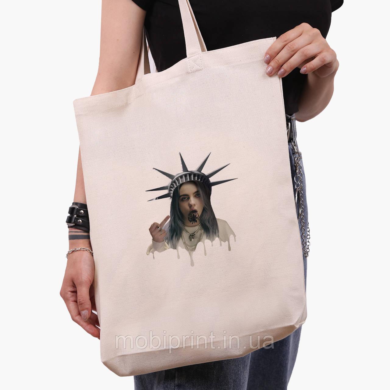 Эко сумка шоппер белая Ренессанс-Билли Айлиш (Billie Eilish) (9227-1583-1)  экосумка шопер 41*39*8 см