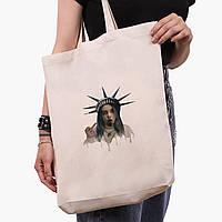 Эко сумка шоппер белая Ренессанс-Билли Айлиш (Billie Eilish) (9227-1583-1)  экосумка шопер 41*39*8 см , фото 1