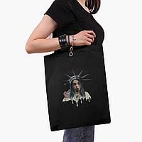 Еко сумка шоппер чорна Ренесанс-Біллі Айлиш (Billie Eilish) (9227-1583-2) экосумка шопер 41*35 см, фото 1