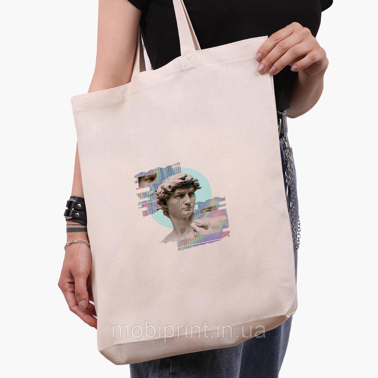 Эко сумка шоппер белая Ренессанс-Давид (David Renaissance) (9227-1584-1)  экосумка шопер 41*39*8 см