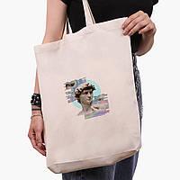 Эко сумка шоппер белая Ренессанс-Давид (David Renaissance) (9227-1584-1)  экосумка шопер 41*39*8 см, фото 1