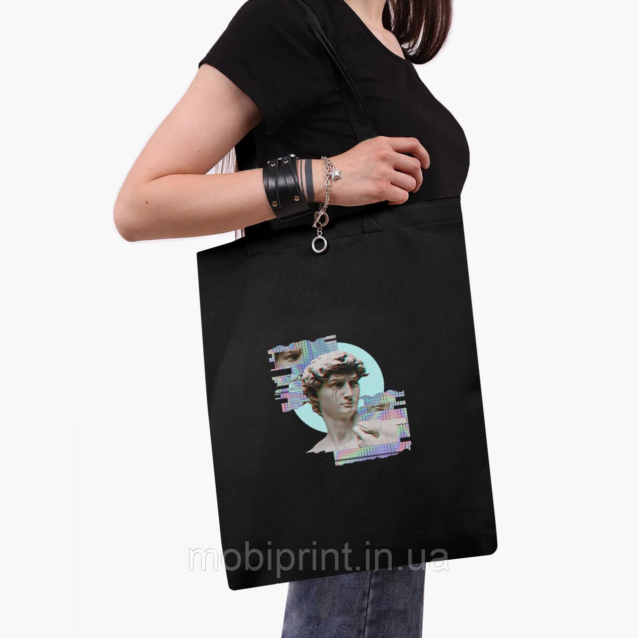 Эко сумка шоппер черная Ренессанс-Давил (David Renaissance) (9227-1584-2)  экосумка шопер 41*35 см