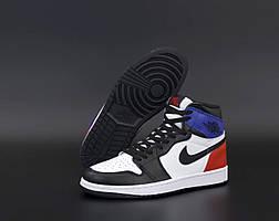 Высокие баскетбольные кроссовки Nike Air Jordan 1 Retro White Red Black Blue (Найк Аир Джордан Ретро)