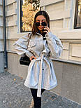 Женская рубашка-пальто кашемировая с поясом и накладными карманами, фото 4