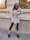 Женская рубашка-пальто кашемировая с поясом и накладными карманами, фото 2