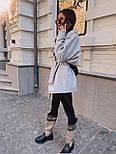 Женская рубашка-пальто кашемировая с поясом и накладными карманами, фото 5