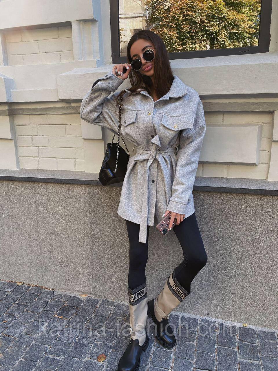 Женская рубашка-пальто кашемировая с поясом и накладными карманами