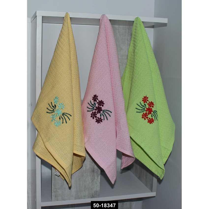 Набор полотенец Цветы в ассорт. (12 шт), 50-18347