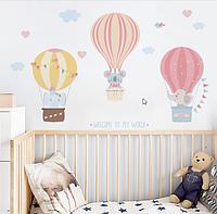 """Декоративные наклейки для детского сада, наклейка в детскую """"звери на воздушных шарах"""" 45*82см (лист40см*60см)"""