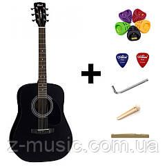 Электроакустическая гитара Cort AD810E (Black Satin) + порожек, зажим, копилка и 2 медиатора