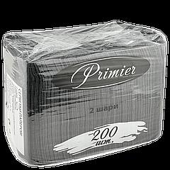 Салфетка Primier Черная 33х30 200шт/уп 2сл.(1ящ/8уп)