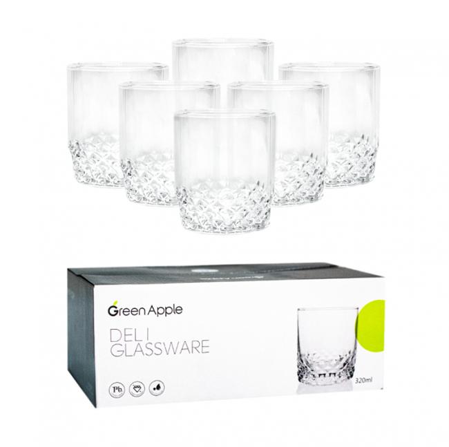 Набор низких стаканов из прозрачного стекла HLS Вальс 320мл*6шт (6207/1)