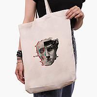 Эко сумка шоппер белая Ренессанс-Давид (David Renaissance) (9227-1585-1)  экосумка шопер 41*39*8 см , фото 1