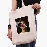 Эко сумка шоппер белая Ренессанс-Ума Турман (Pulp Fiction) (9227-1587-1)  экосумка шопер 41*39*8 см , фото 1