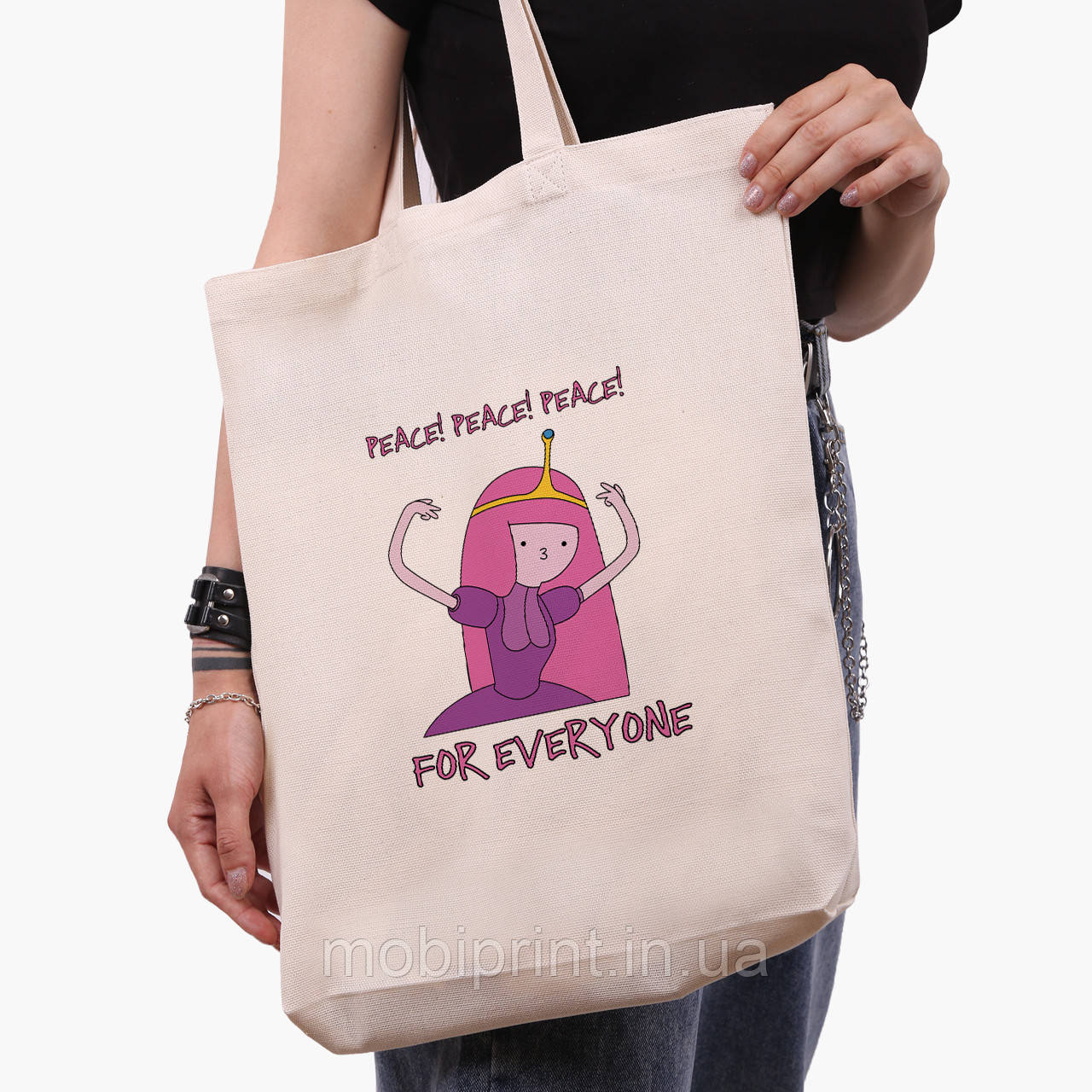 Эко сумка шоппер белая Принцесса бубльгум (Adventure Time) (9227-1576-1)  экосумка шопер 41*39*8 см