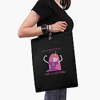 Эко сумка шоппер черная Принцесса бубльгум (Adventure Time) (9227-1576-2)  экосумка шопер 41*35 см, фото 1