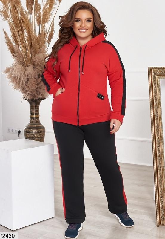 Р. 48-66 Женский теплый спортивный костюм с начесом батал красный/черный