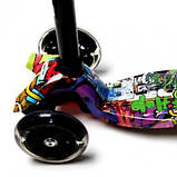 Детский самокат MAXI. Graffiti Hip-Hop. Светящиеся колеса, фото 4