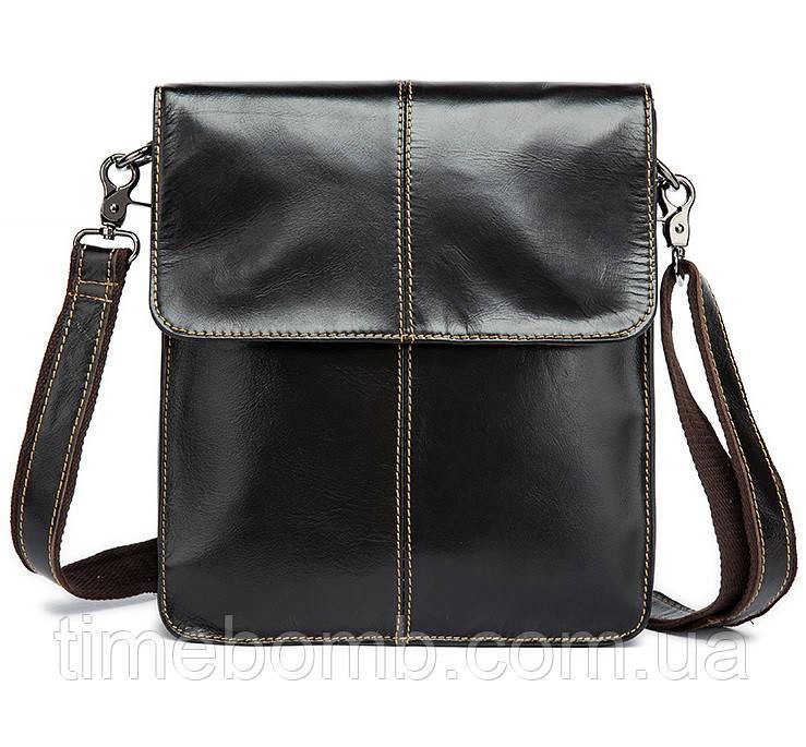 Тонкая мужская кожаная наплечная сумка Westal 099 темно кофейная