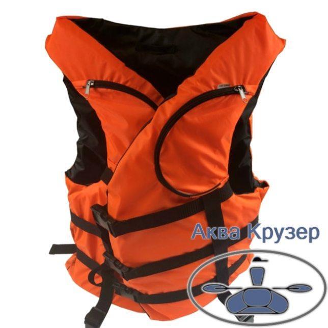 Страховочные жилеты 80-100 кг (спасательный жилет) с карманами, цвет оранжевый, сертифицированный