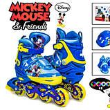 Комплект роликов Disney. Mickey Mouse. р.34-37. Все колеса светятся, фото 2