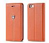 Кожаная оригинальная книжечка оранжевая для iPhone 6 6S