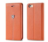 Кожаная оригинальная книжечка оранжевая для iPhone 6 6S, фото 1