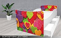 Кровать ЦВЕТНЫЕ СЕРДЕЧКИ КИНДЕР, фото 1