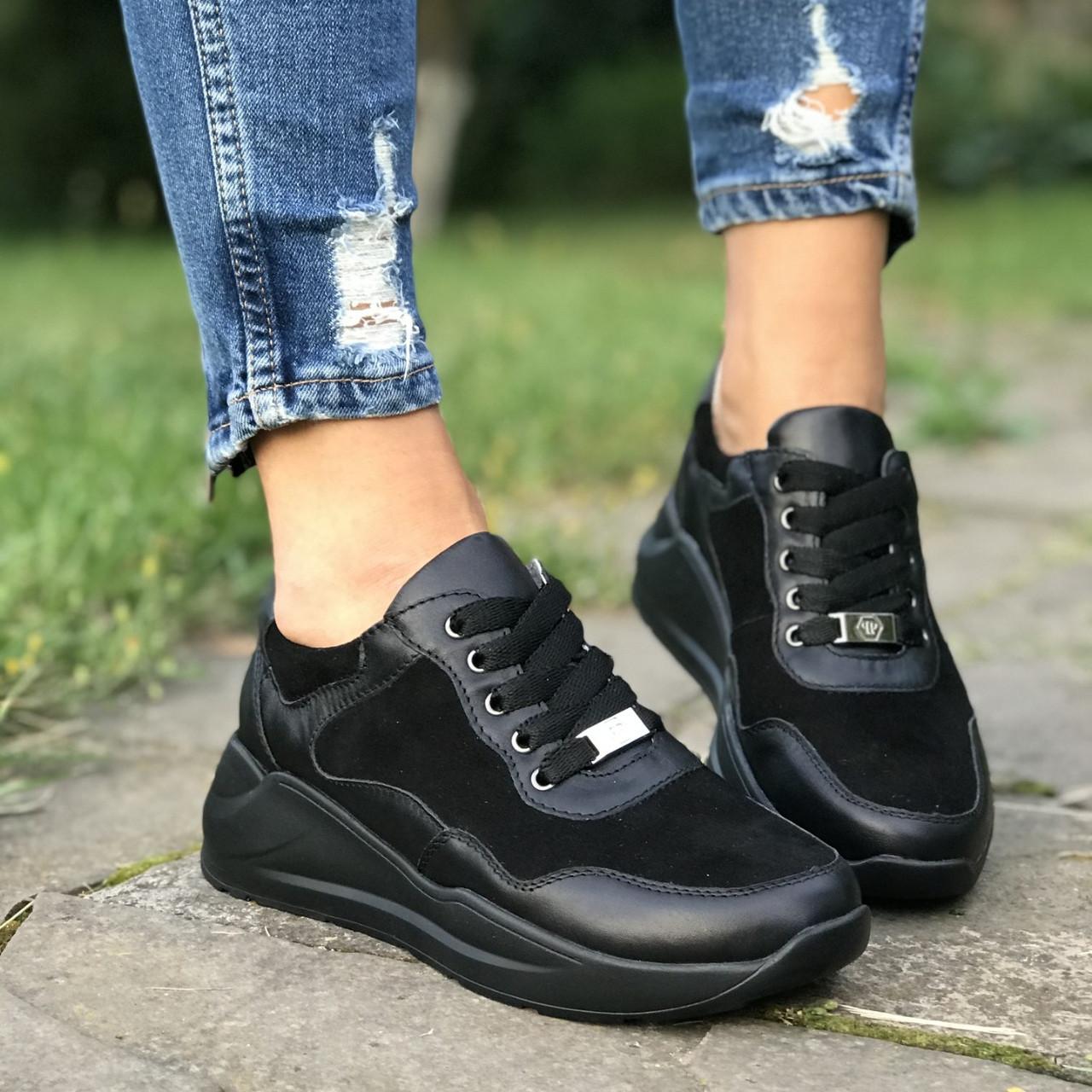 Туфли женские на танкетке кожаные черные