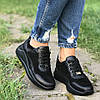 Туфли женские на танкетке кожаные черные, фото 2