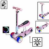 Самока Scooter 3in1.Pink. Складная ручка Cо светом и музыкой Смарт-колеса., фото 2