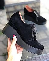 Замшевые женские туфли на танкетке платформе удобные модные молодежные демисезонные 38 размер M.KraFVT 0217