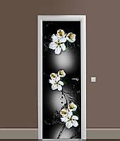 Вінілова 3Д наклейка на двері Незвичайні квіти Вишні самоклеюча плівка ПВХ бризки на чорному тлі 650*2000мм, фото 1