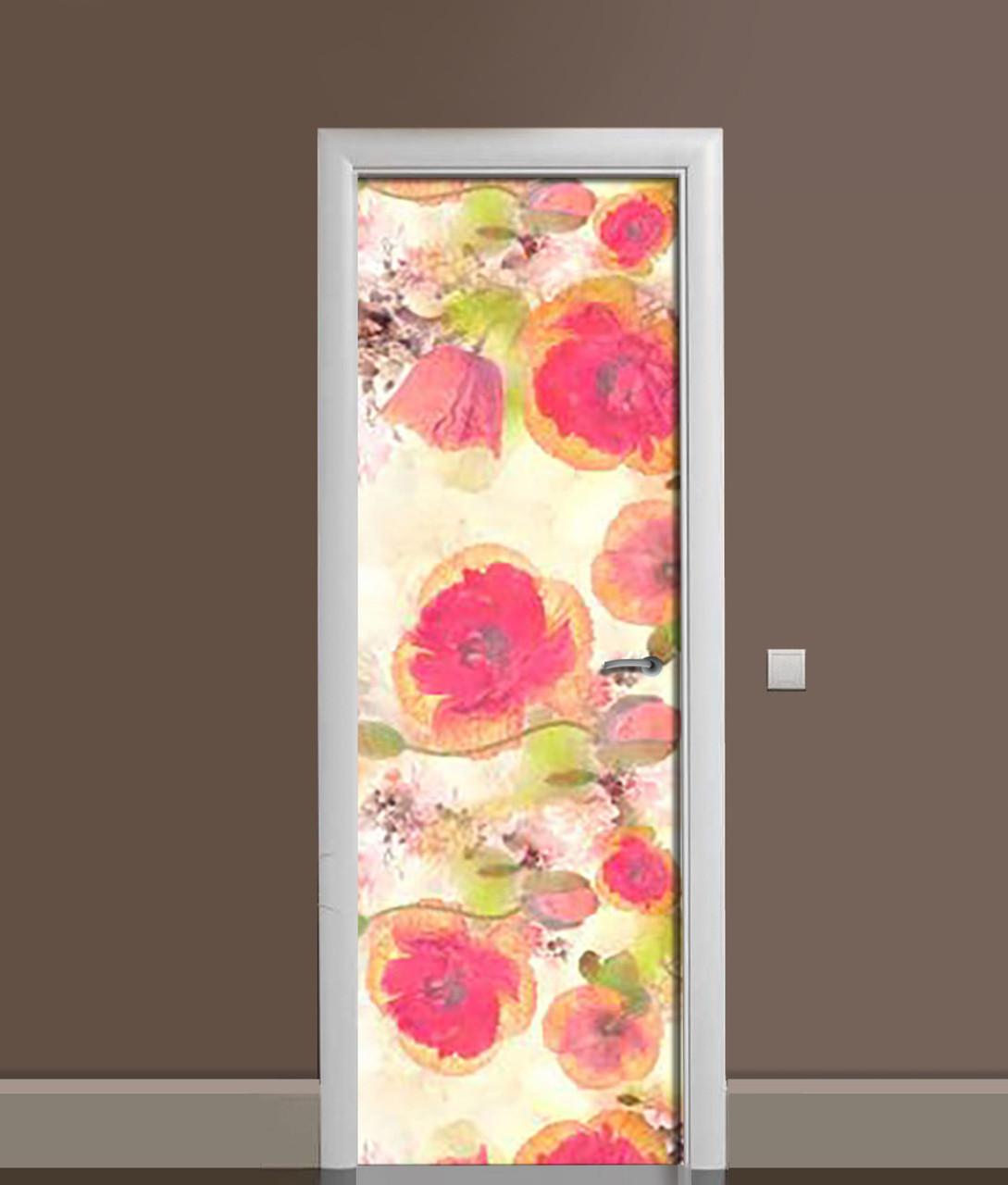 Виниловая 3Д наклейка на дверь Акварельные маки самоклеющаяся пленка ПВХ Цветы Красный 650*2000 мм