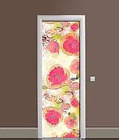 Виниловая 3Д наклейка на дверь Акварельные маки самоклеющаяся пленка ПВХ Цветы Красный 650*2000 мм, фото 1