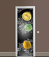 Виниловая 3Д наклейка на дверь Лимоны и Лаймы в воде самоклейка пленка ПВХ цитрусы брызги Серый 650*2000мм